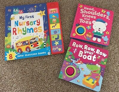 Bundle of 3 Board Books | Nursery Rhymes, Songs | All books play sound / music