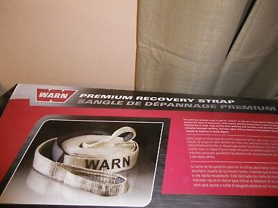 """Warn 2"""" X 30' Premium Recovery Strap With A Pair Of Xl Winching Gloves"""