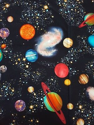 Space Universe Planets Solar System Stars Milkyway Cotton Fat Quarter