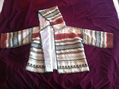 Vintage Greek felted wool embroidered jacket with a hood white, green, & red