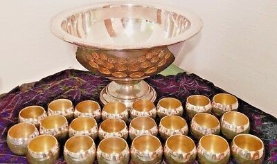 "Beautiful Vtg FB Rogers Silverplate 17"" Punchbowl Set: Tray, 23 Cups & Ladle"