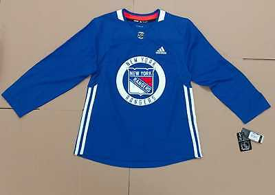 Adidas Nhl New York Rangers Blue Authentic Practice Jersey Men's Size 50 New Wt