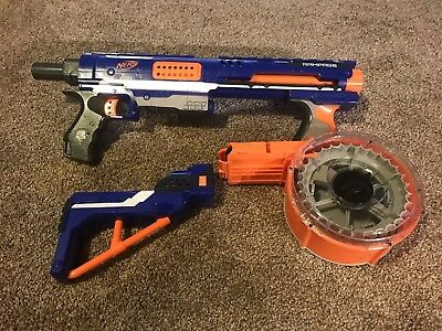 Nerf N-Strike Elite Ramage Blaster W/ 30- Round Drum Clip - Works Great