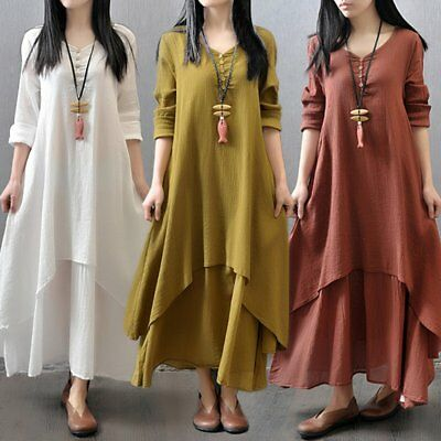 Women Dress Solid Color Round Collar Long Sleeve Loose Long Length Dress WY
