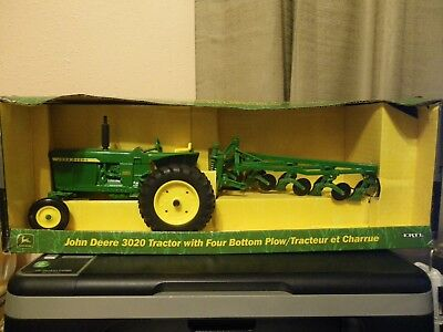 Vintage John Deere 3020 Tractor With Four Bottom Plow Nib 1/16 Scale