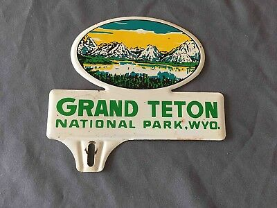Old Grand Teton National Park in Wyoming Souvenir Metal License Plate Ad Topper