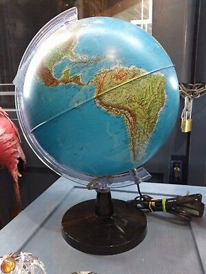 Vintage Globe Light Up Illuminated Vintage Map Atlas World Celestial Blue