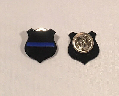 2 Thin Blue Line Shield Badge style Lapel Pin Tie Tack Police 2019