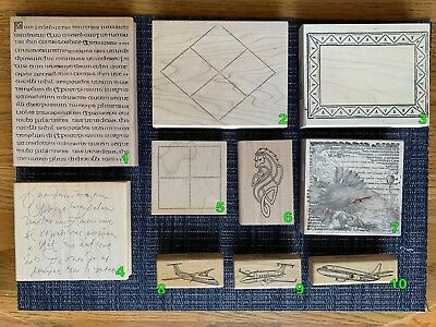 Wood Mounted Background & Misc Rubber Stamps for Scrapbooking and Stamping