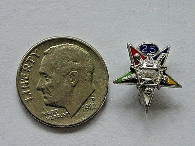 Vintage Sterling Silver Oes Order Of The Eastern Star 25 Year Award Pin