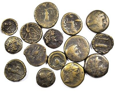 Good Group of 15 Ancient Greek Bronze Coins (32)