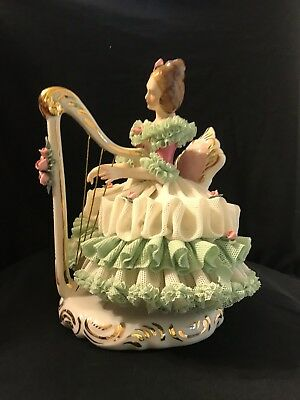 "Vintage Dresden Germany Lace Girl Plaaying Harp 7"" Tall"