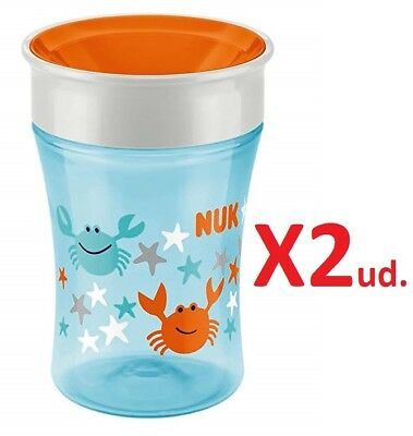 2 unidades de NUK Magic 360° 250 ml taza +8 meses Naranja cangrejo Original