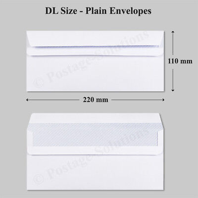 1000 DL D/L Size Nice White Envelope Plain Self Seal 80 gsm Good Quality Cheaper