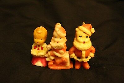 Antique Christmas Candles 3pc. Set Vintage Small Very Old