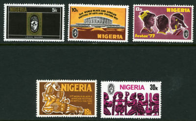 Nigeria 1976-77 Mnh Set African Festival Of Arts, Culture, Theatre, Musical Inst