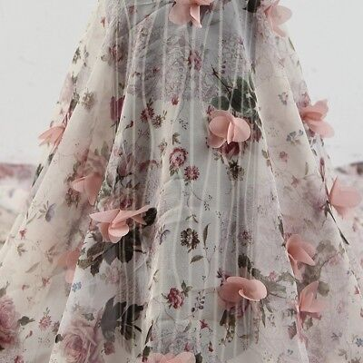 Lace Fabric Embroider 3D Flower Wedding Bridal Voile DIY Organza Chiffon Floral