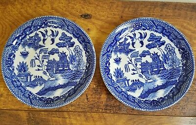 Set of 2 Antique Japanese cobalt Blue & White small saucer plates 5 3/4""