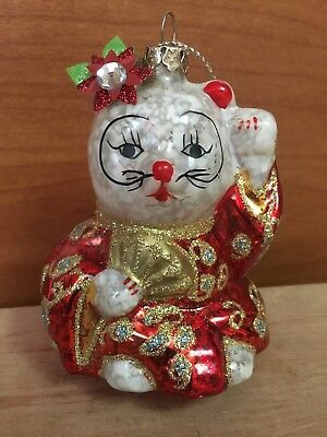 Lucky Cat Maneki-Neko Kimono Glass Bulb Christmas Ornament