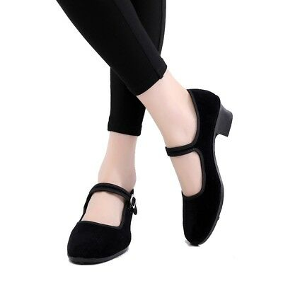 National Dance Shoes Black Block Heels Round Toe Square Dance Shoes Ankle Strap