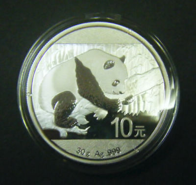 2016 China Silver Panda coin 1 oz .999 Fine 10 Yuan Chinese in Capsule