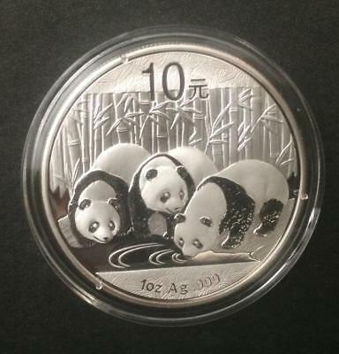 2013 China Silver Panda coin 1 oz .999 Fine 10 Yuan Chinese in Capsule