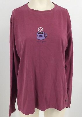 Life Is Good - Women's  Medium -   W/ Coffee Cup On Front Top Shirt