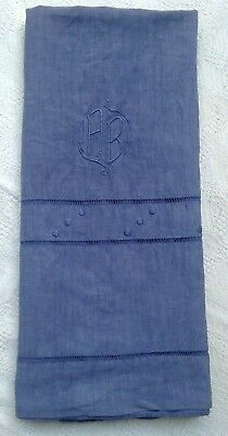 Vintage Antique French Pure Linen Bed sheet embroidery monogram hand dyed