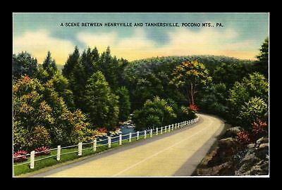 Dr Jim Stamps Us Highway View Pocono Mountains Linen Postcard