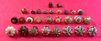 Lot Of 28 Antique Vintage Hardware Dresser/door Knobs Porcelain Brass