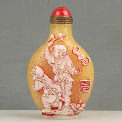 Chinese Exquisite Handmade child bat Glass snuff bottle
