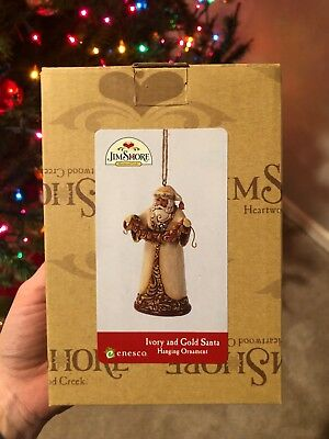 Jim Shore Ivory and Gold Santa Hanging Ornament - 2012