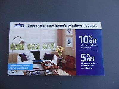 Coupon for Lowes 10% off blinds & shades in stock, expires 2-28-19