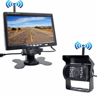 "Wireless IR Rear View Back up Camera Night Vision System+7"" Monitor RV Truck Kit"