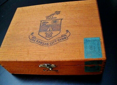 "Vintage, Old  ""The Kansas City Club""  Wooden Cigar Box...Hinged...Dovetailed"