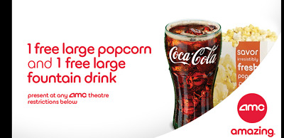 AMC Theaters Voucher:1 LARGE Drink & 1 LARGE Popcorn Messaged to you in minutes!