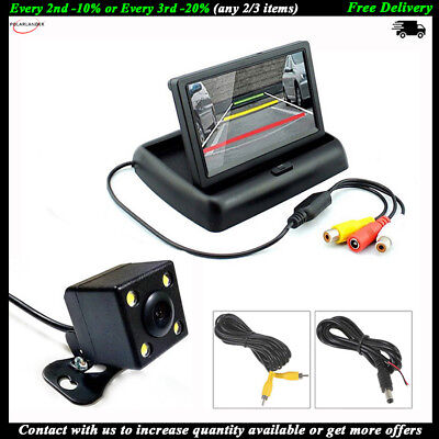 """4.3"""" Foldable Car Reverse Monitor Wireless Transmitter Rear View Camera CCD 4LED"""