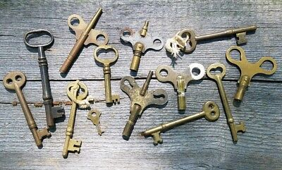 13 BRASS Vintage SKELETON KEYS - Antique Door Lock Clock Toy Key Lot