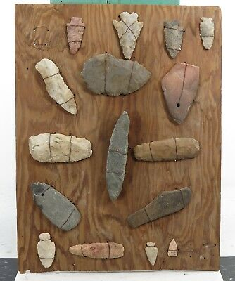 Collection of 16 Old Stone Tools Arrowheads Axe Heads Knives from Boone Cty MO
