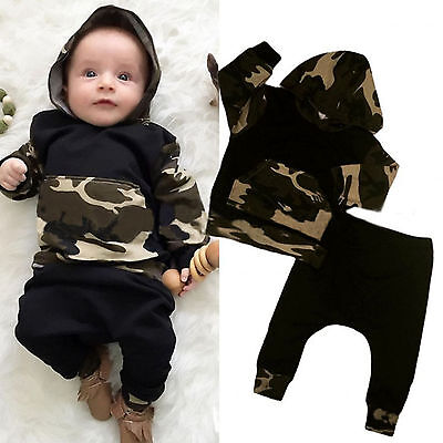 2pcs Newborn Baby Boy Camo Hoodie Tops + Pants Outfits Set Tracksuit Clothes New