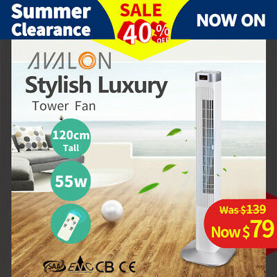 Luxury Avalon Portable Tower Fan 4046WR 120cm Remote Control LCD - White