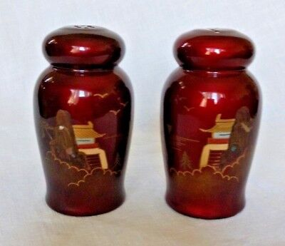 Vintage Mid Century Asian Red Lacquer Salt Pepper Shakers Abalone Inlay Pagoda