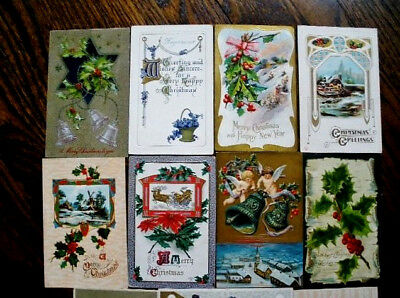(12) pc lot Vintage, Old  Christmas/New Year Postcards - Early 1900's, Embossed