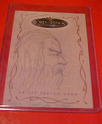 Lord of the Rings LOTR Topps Evolution Brent Woodside Gandalf SKETCH !!