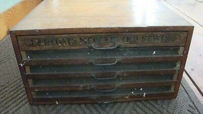 Antique Wooden 5 Drawer J & P Coats Best Sewing Thread Spool Cabinet