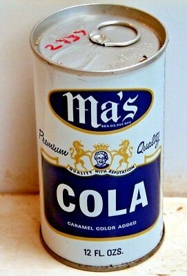 Ma's Cola; Ma's Old Fashion Bottling Inc.; Wilkes-Barre, PA; Steel Soda Pop Can