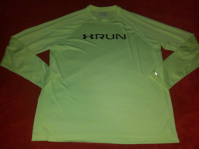 Under Armour Run   Xxl   Yellow   Mens Reflective Running Ls T Shirt    New