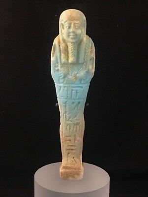 Ancient Egyptian Faience Ushabti - Translated - Late Period 380-343 B.c