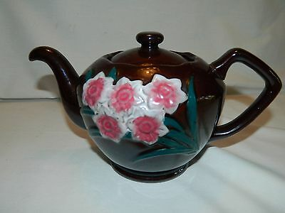 Vintage Brown Teapot With Raised Pink & White Flowers –Made In Japan