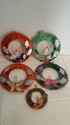 Vintage Christmas Wreaths 1930's/1940's Made In Occupied Japan Originals Used